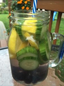 Lemon, Cucumber & Blueberry Infused Water www.foreverfitmom.net