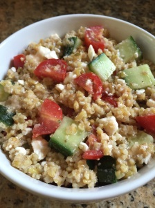 Greek Freekeh Salad www.foreverfitmom.net